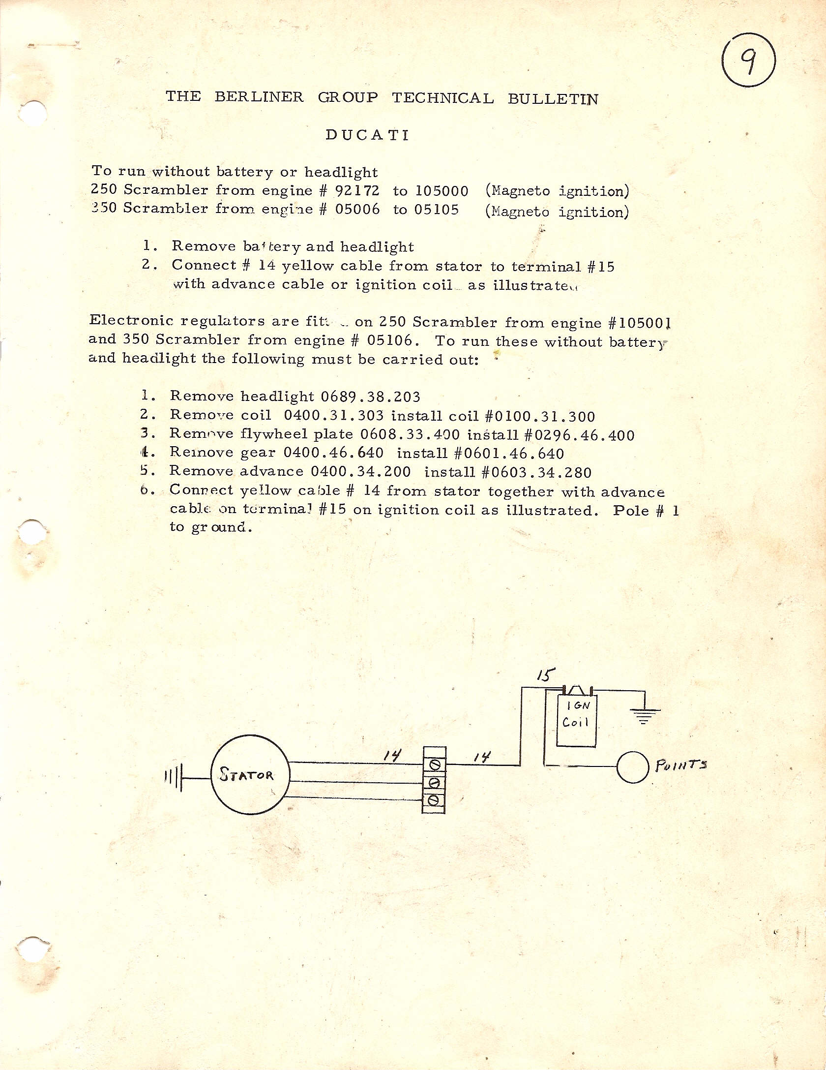 Ducati Singles Technical Information By Single Wiring Harness Berliner 9 To Run Without Battery Or Headlight